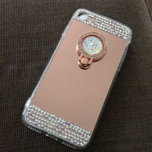 Rhinestone Rose Gold Mirror Case with clip